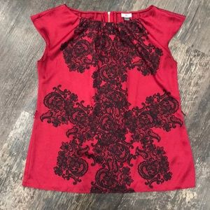 Worthington Red and Black Blouse